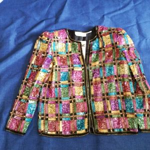Lawrence Kazar gorgeous sequined jacket size small
